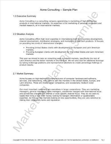 outlined marketing plan and executive summary example