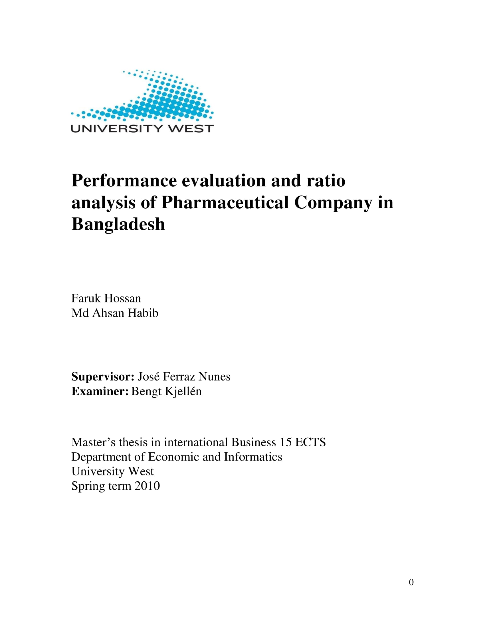 performance evaluation and ratio analysis report example 01
