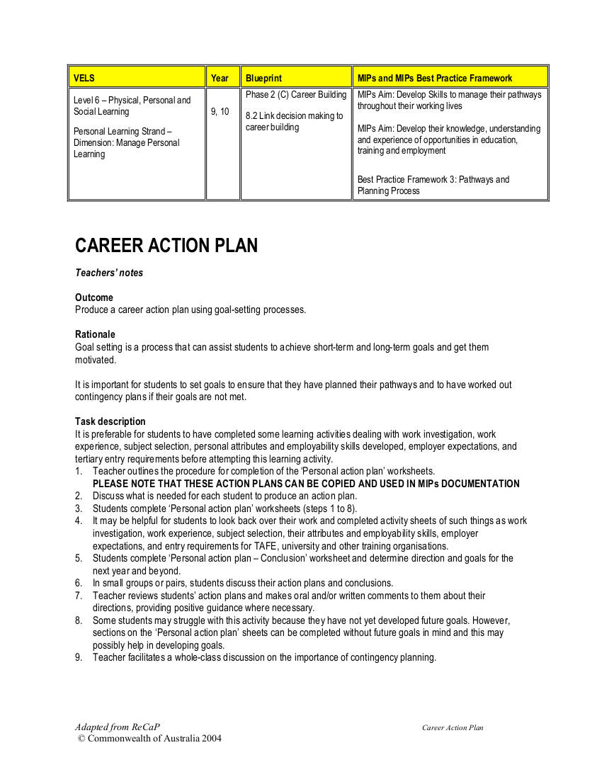 personal career actio plan