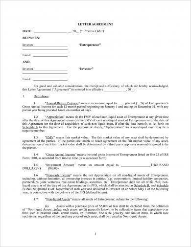 personal equity investment agreement example