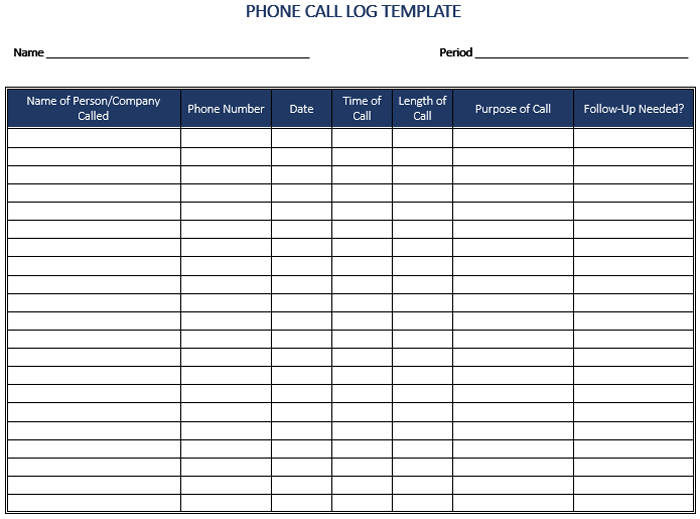 picture about Printable Phone Log identified as 8+ Totally free Printable Mobile phone Log Illustrations - PDF Illustrations