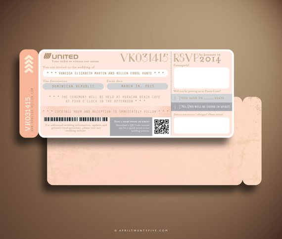 pink plane boarding ticket example