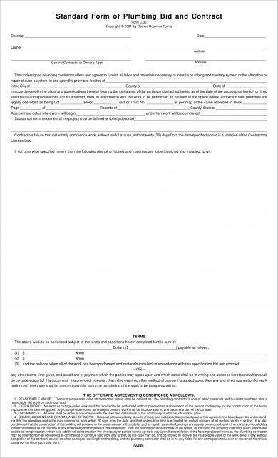 plumbing construction bid form example