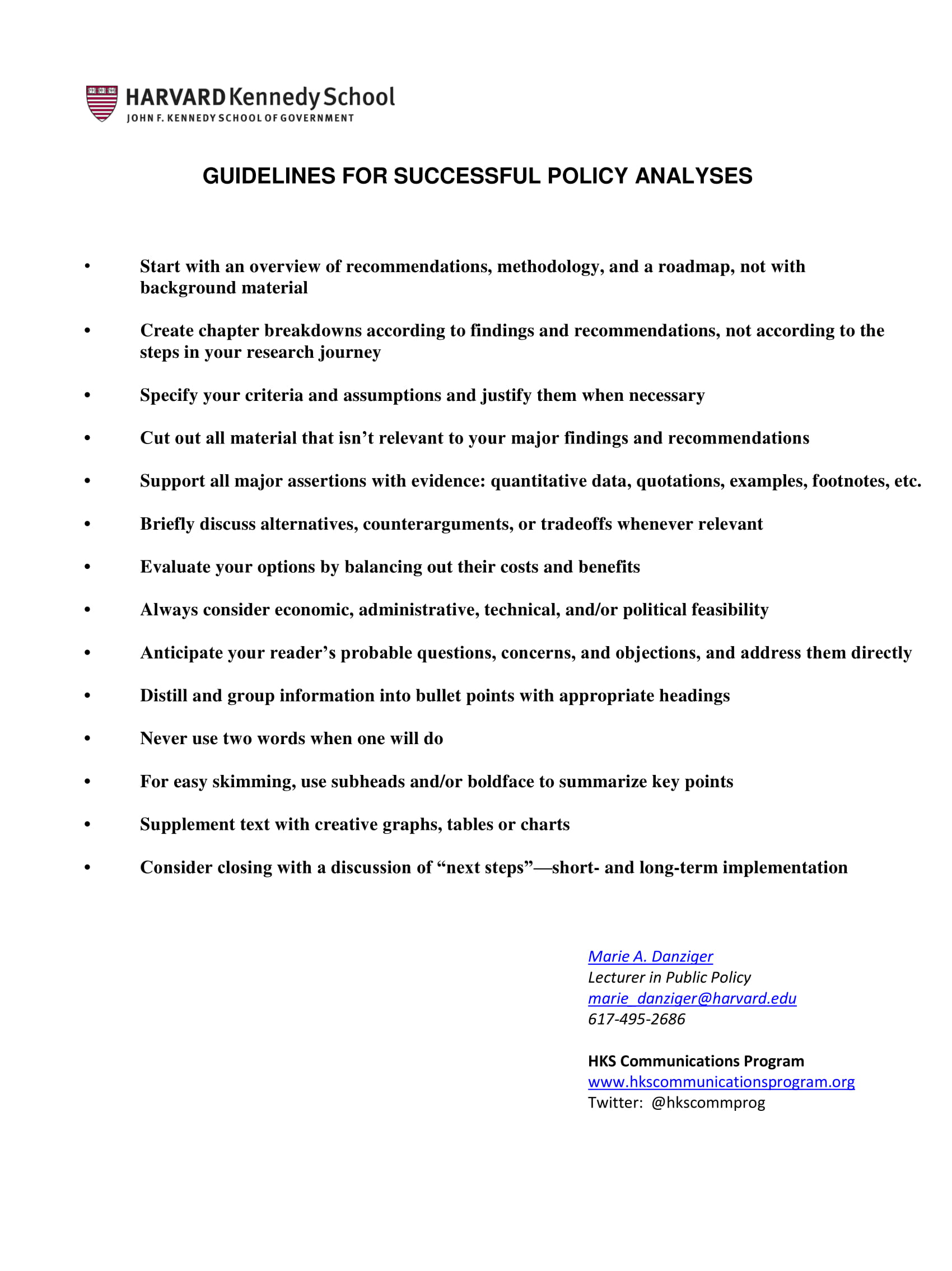 policy analysis development guidelines example 1