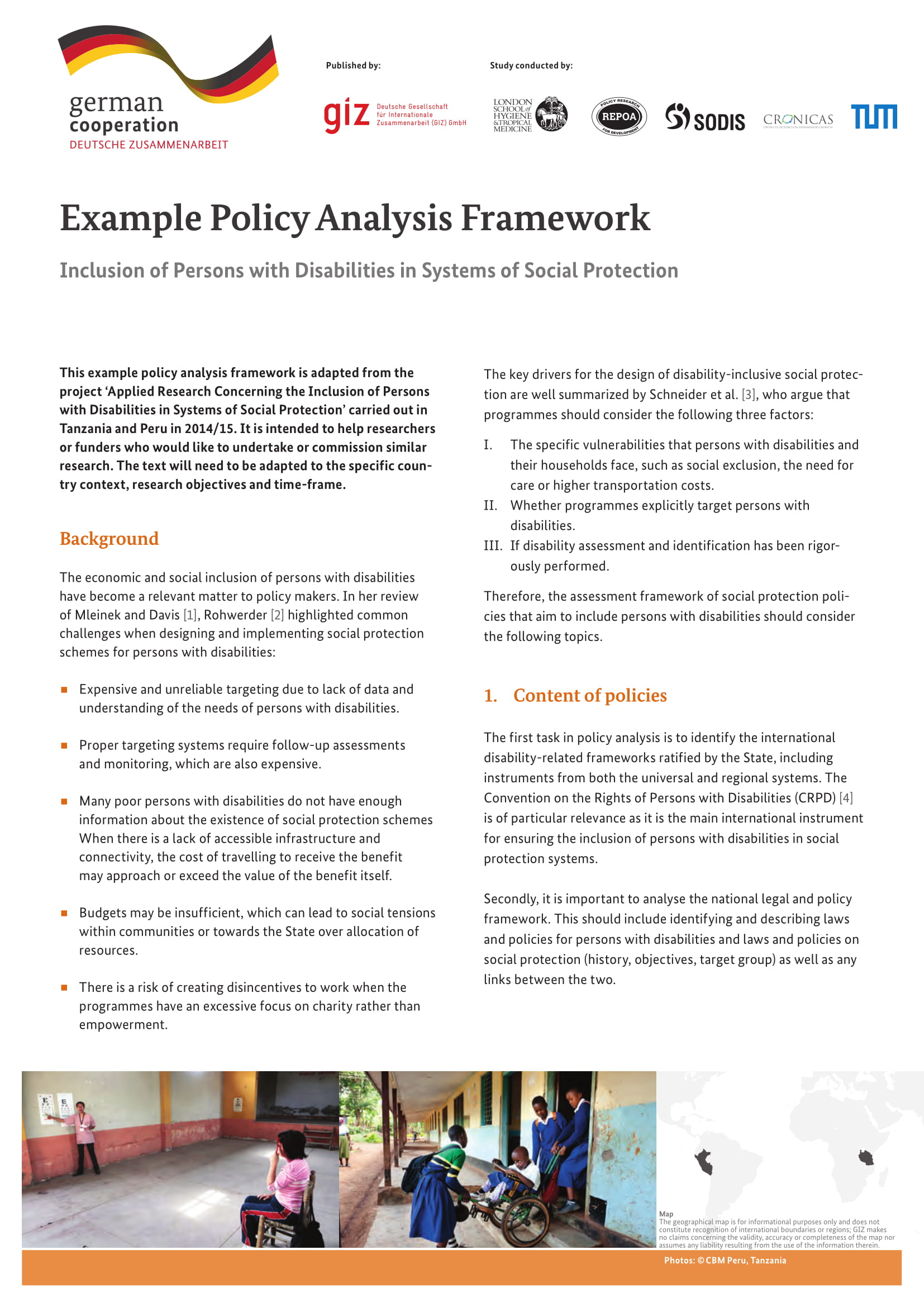 policy analysis framework example 1