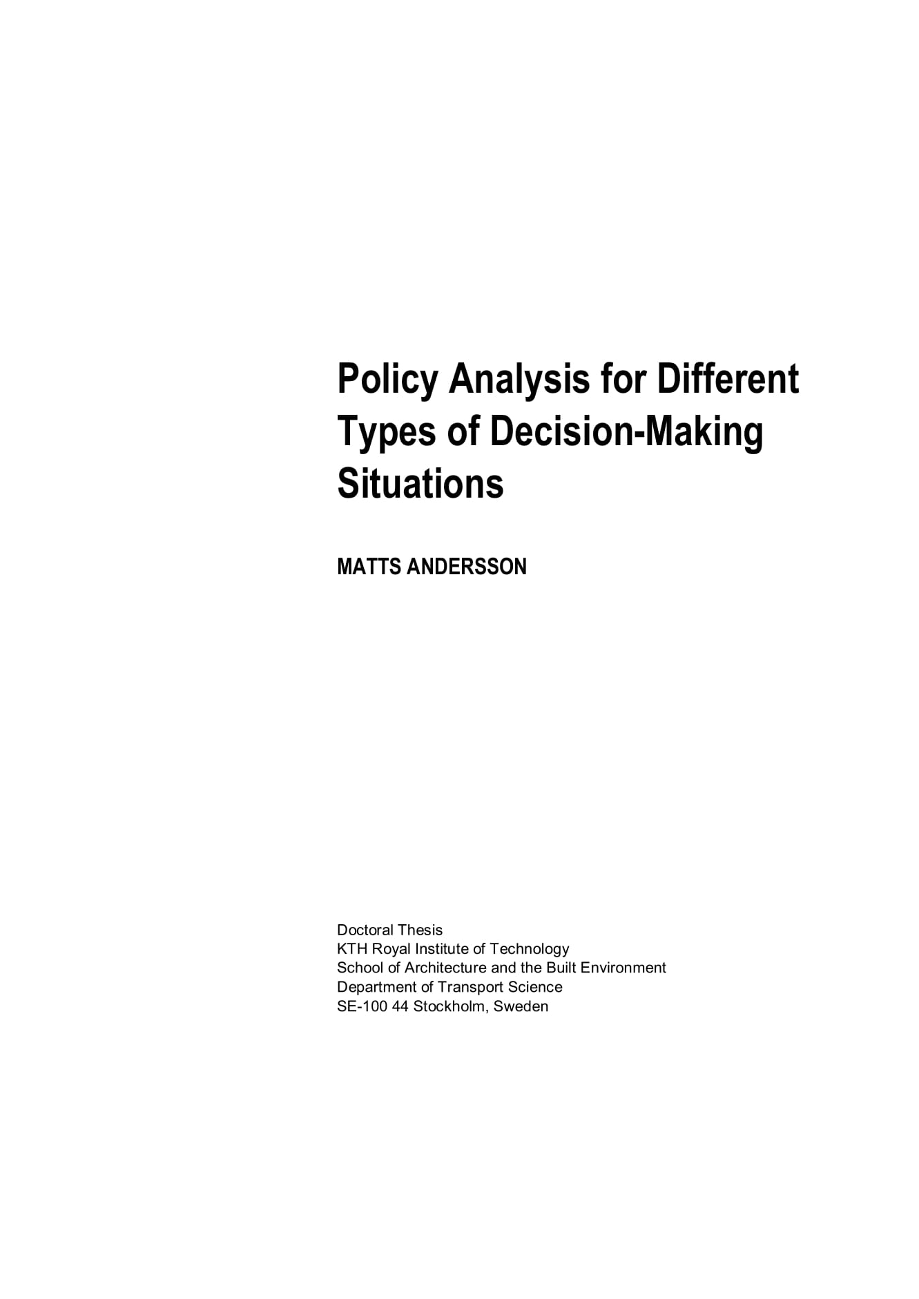 policy analysis for different types of decision making situations discussion and template example 01