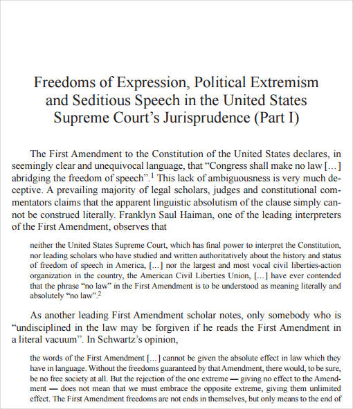 political extremism and seditious speech example