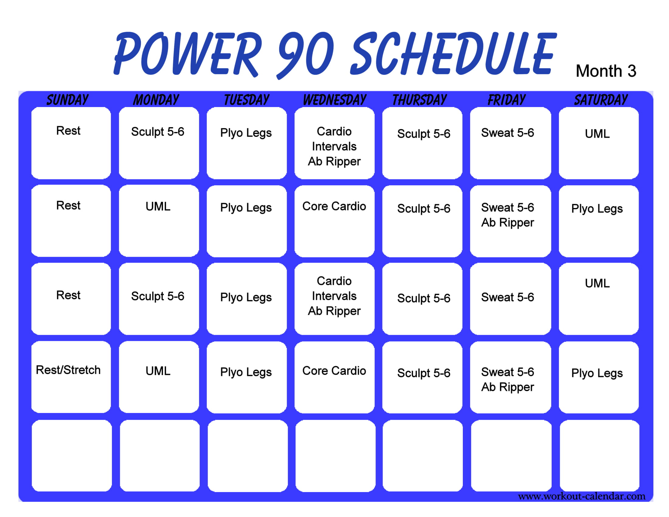 power 90 day workout plan example