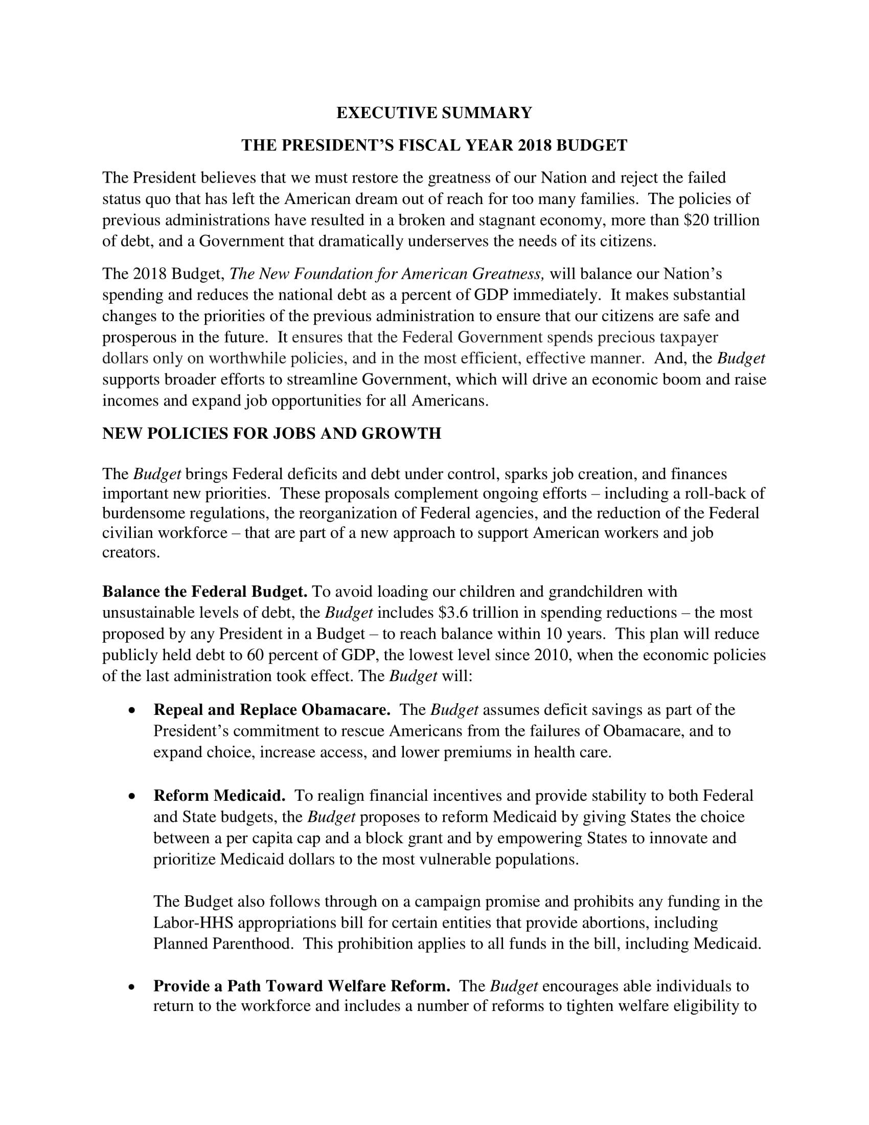 presidents fiscal yaer executive budget summary example 1