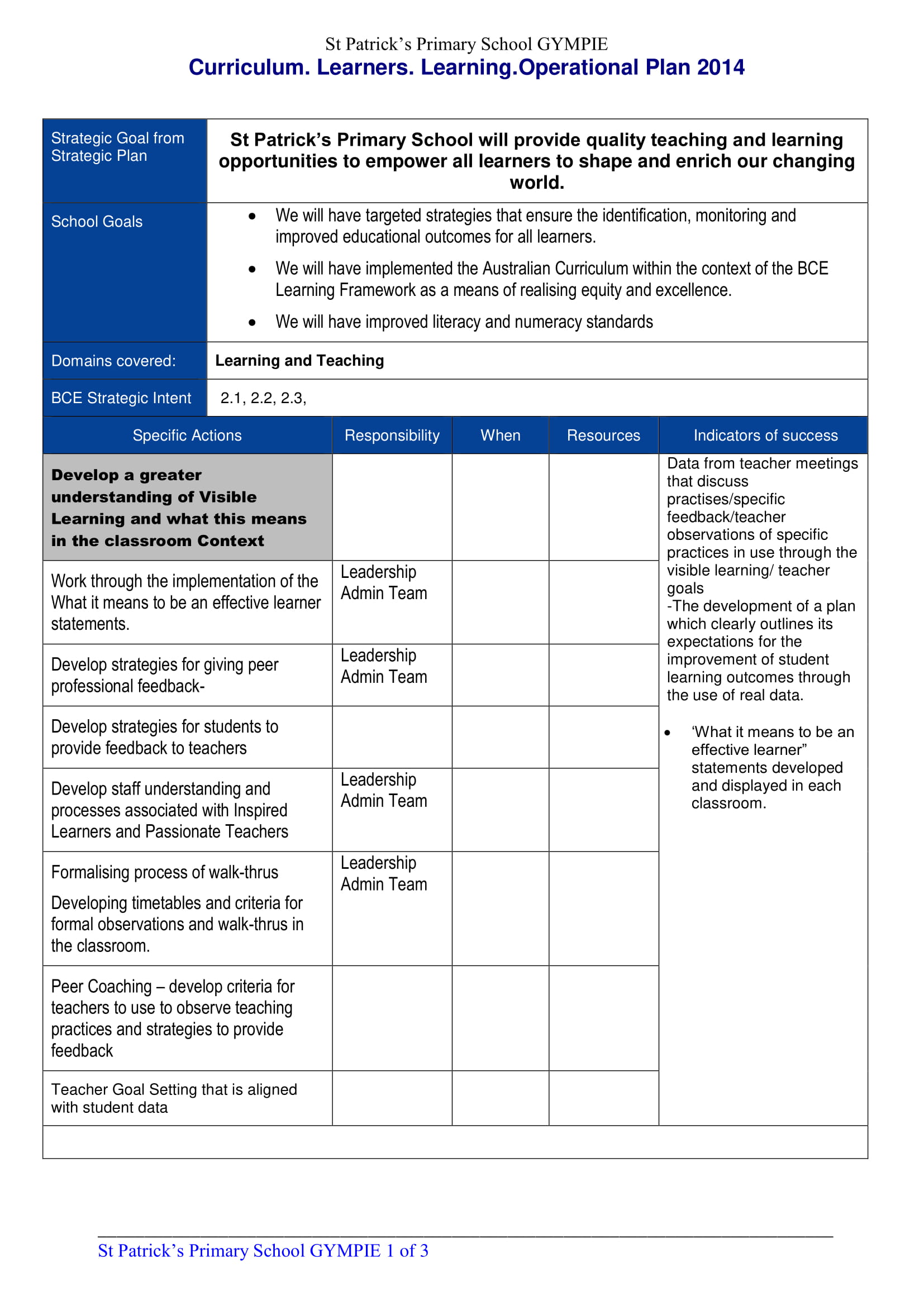 primary school cirriculum learning and operational plan example 1