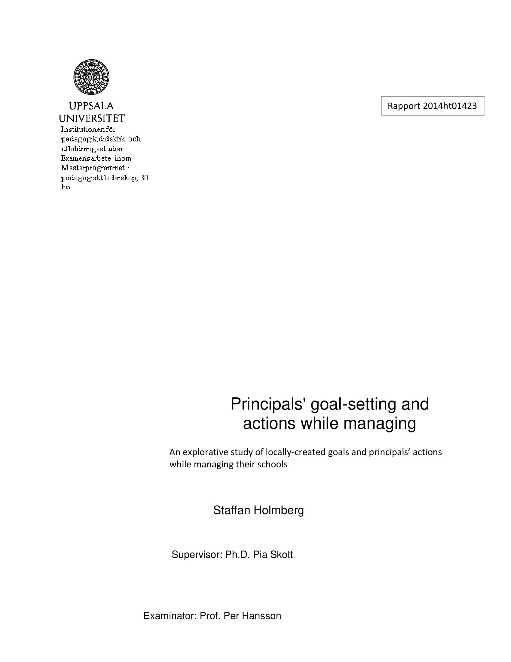principals goal setting example