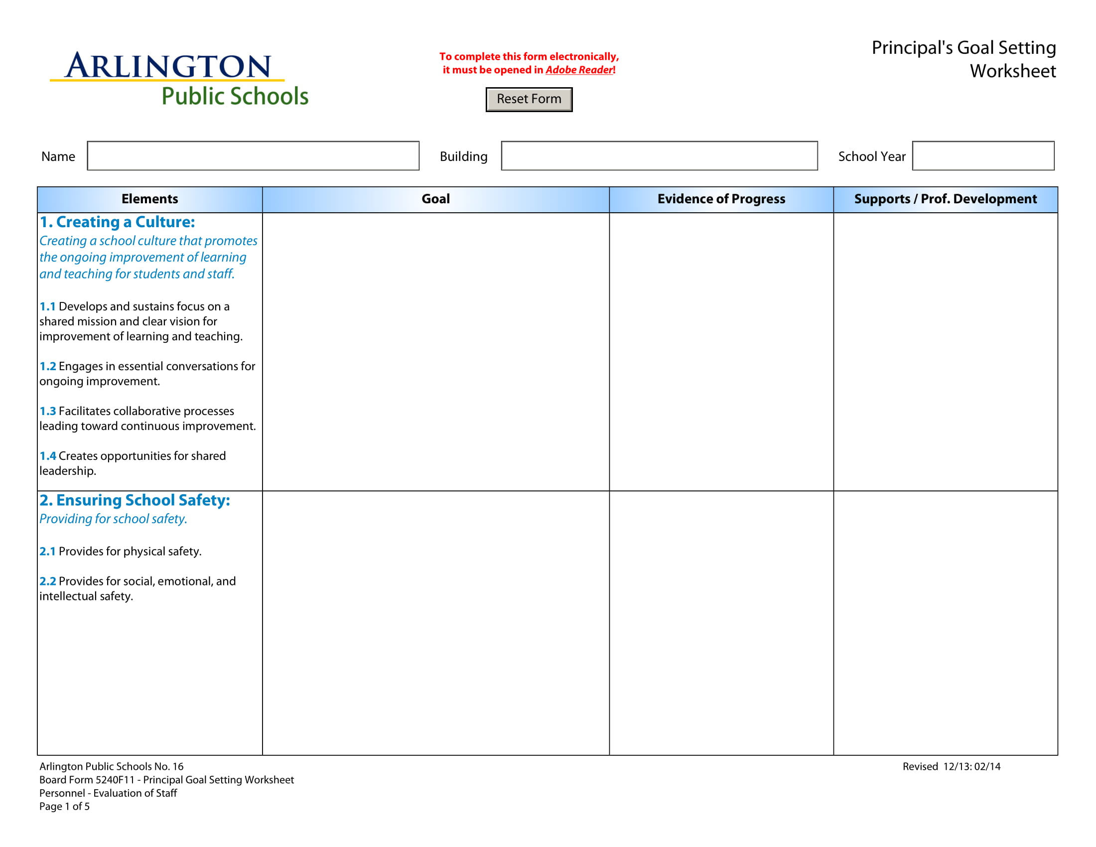 principals goal setting worksheet example