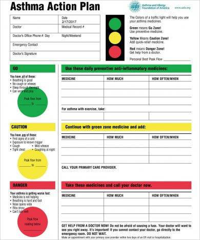 printable asthma action plan template