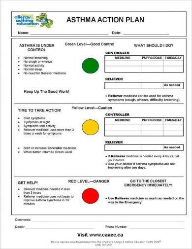 printable asthma action plan for children example
