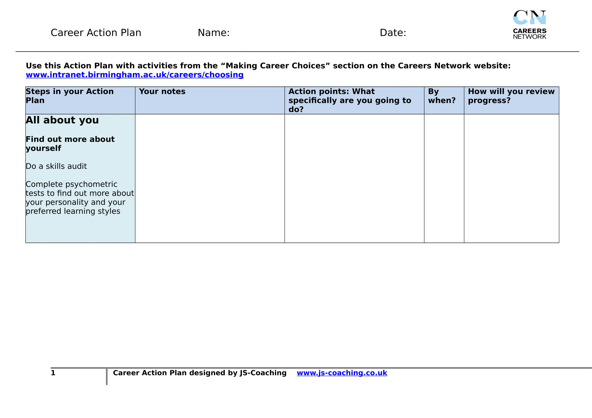 printable career action plan template example