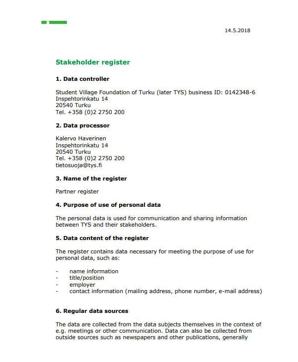 printable stakeholder register