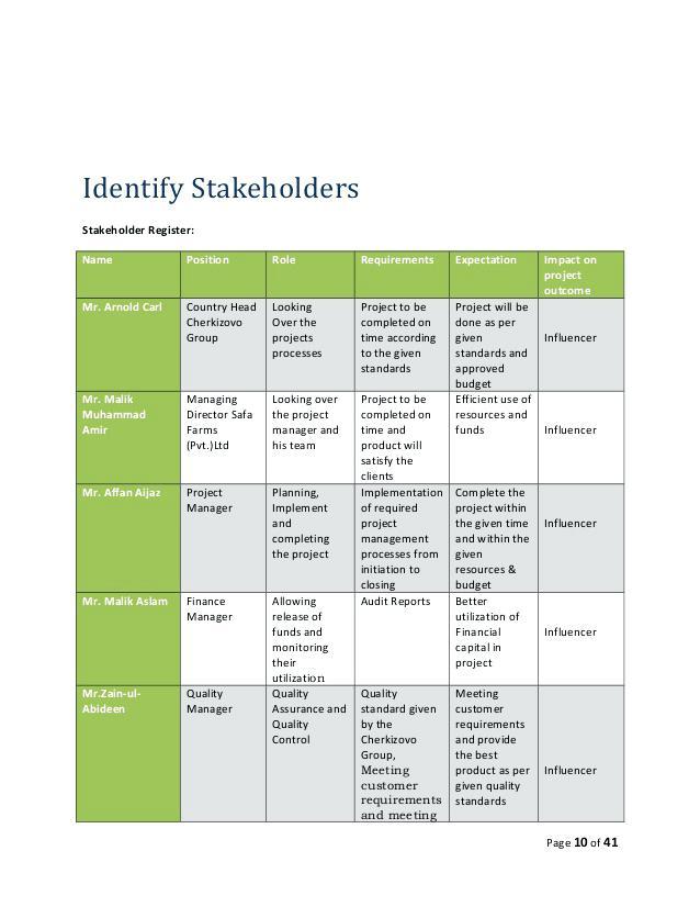 printable stakeholder register example
