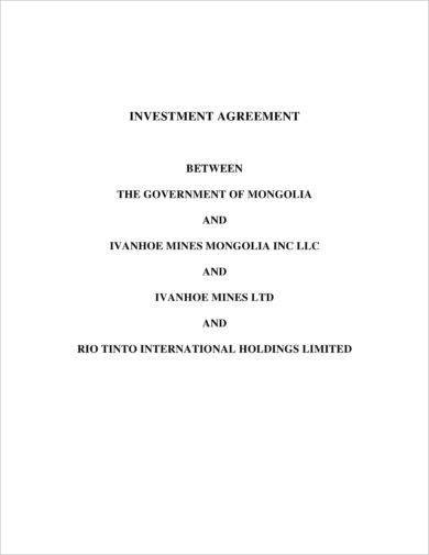 private equity investment agreement example
