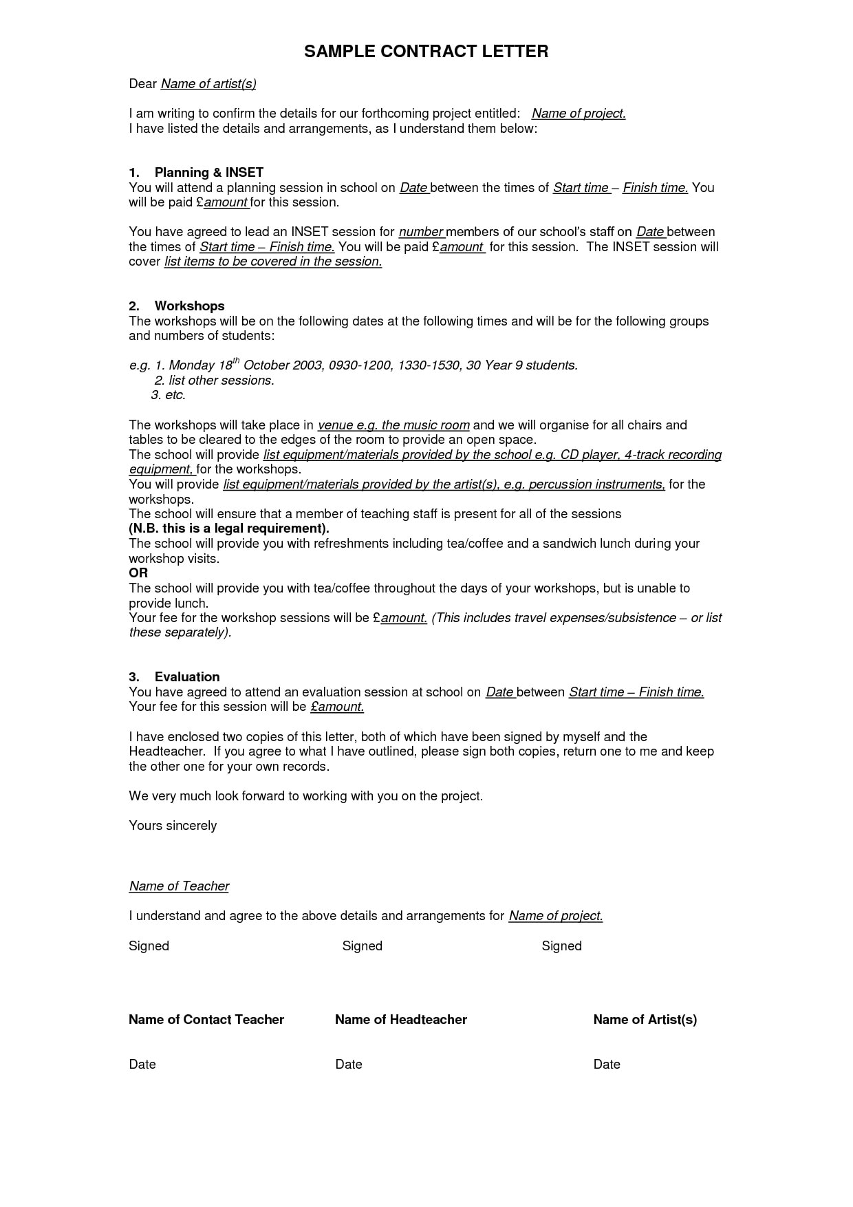 professional contract agreement letter example