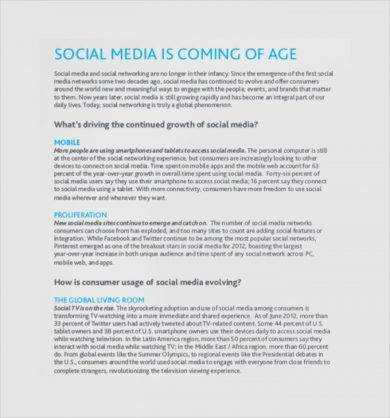 professional social media report example