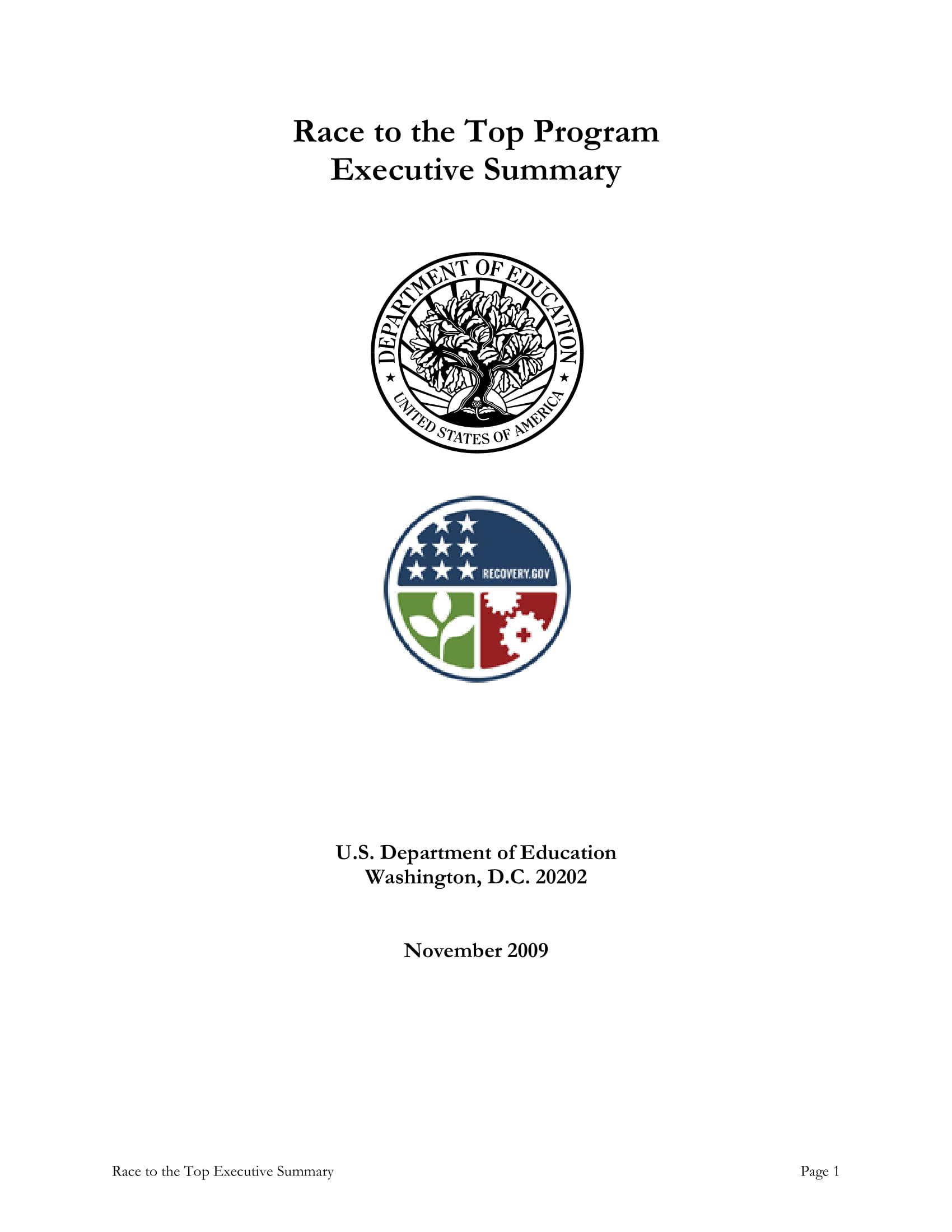 program plan executive summary example