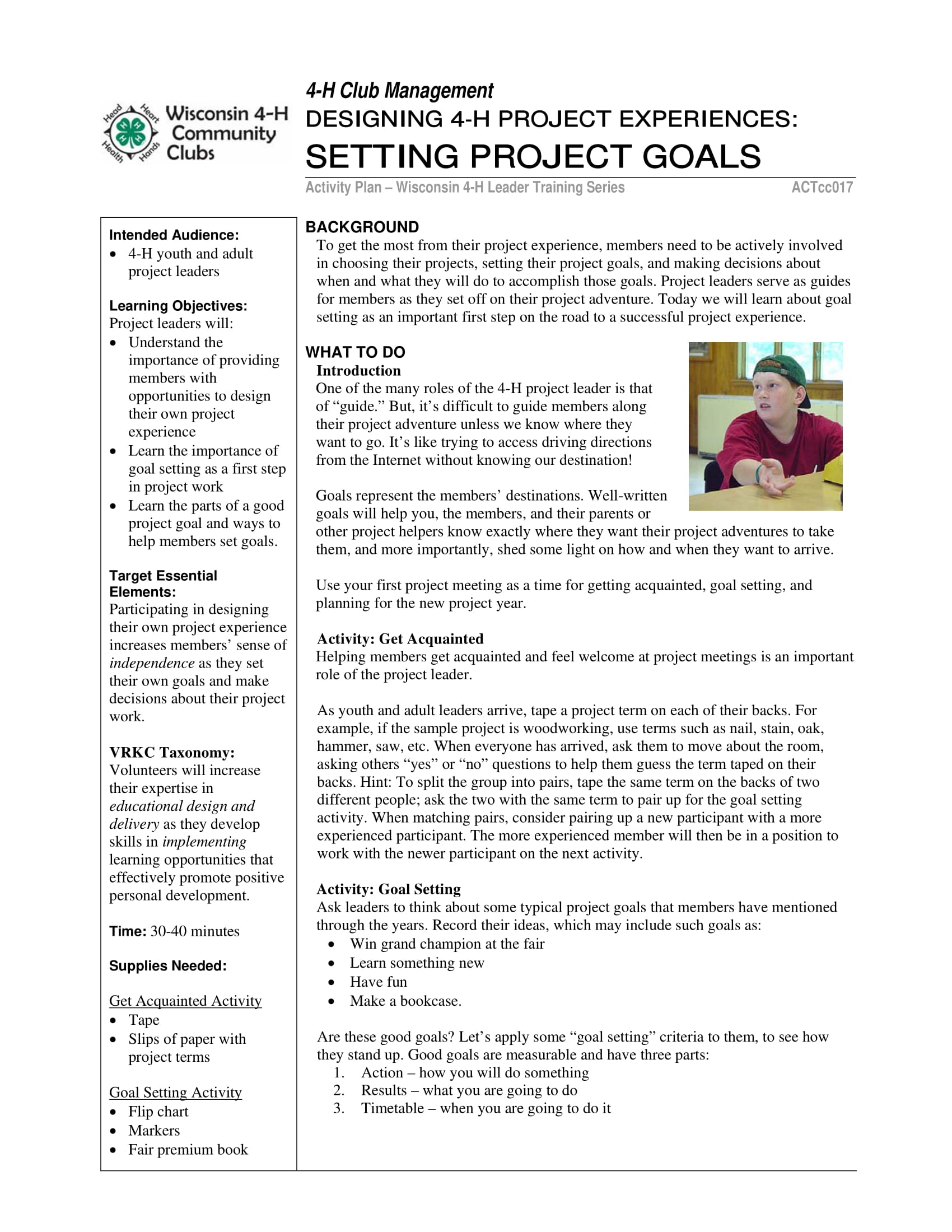 project goal setting guide example