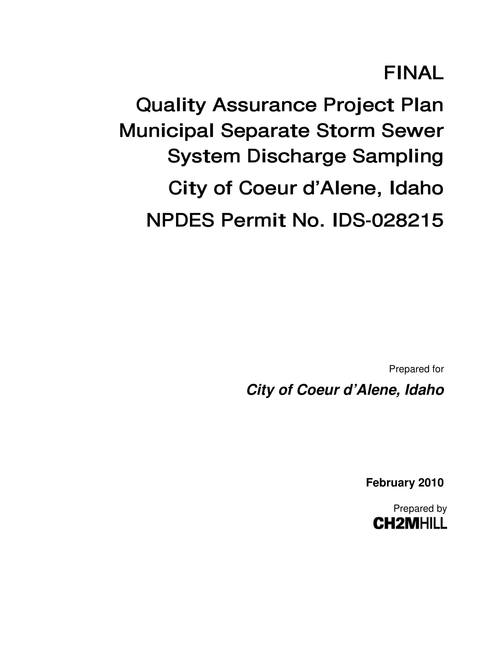 project quality assurance plan example