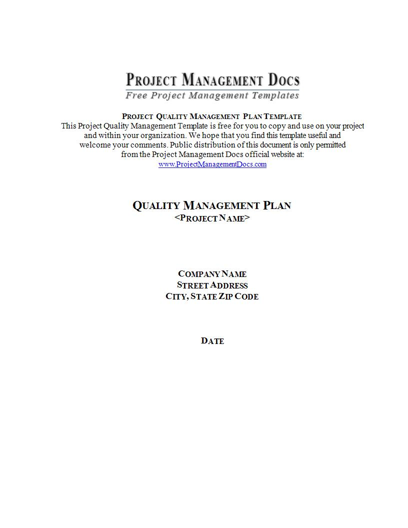 project quality management plan template example1