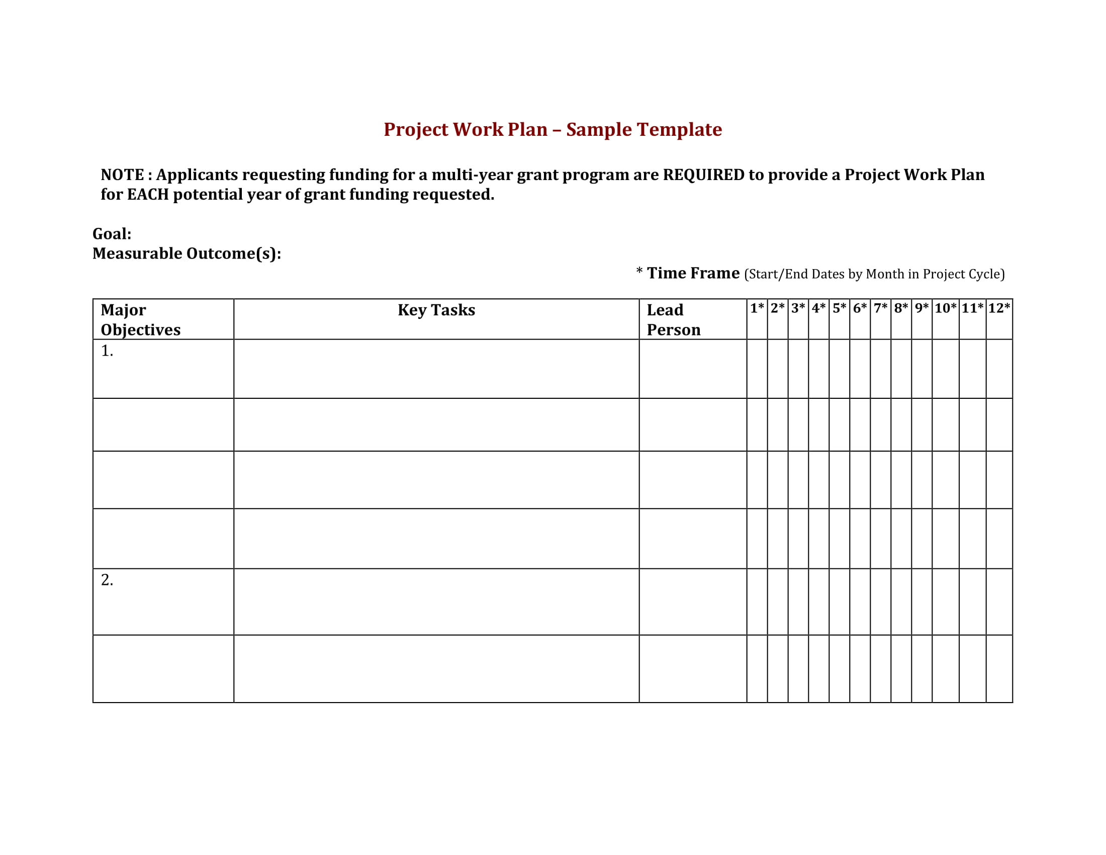 project work plan template example