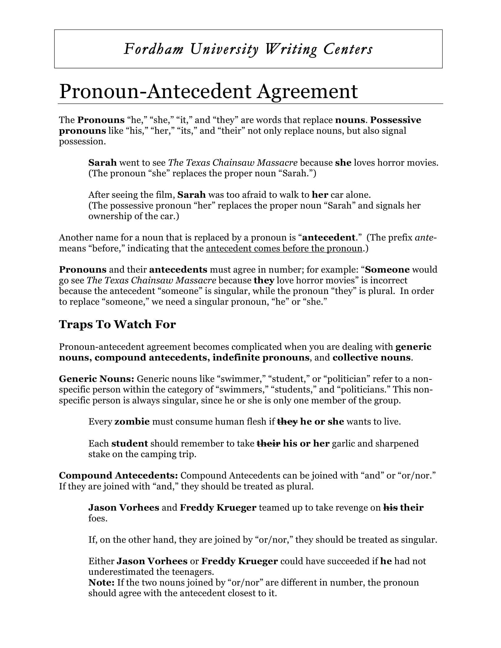 pronoun antecedent agreement guide example