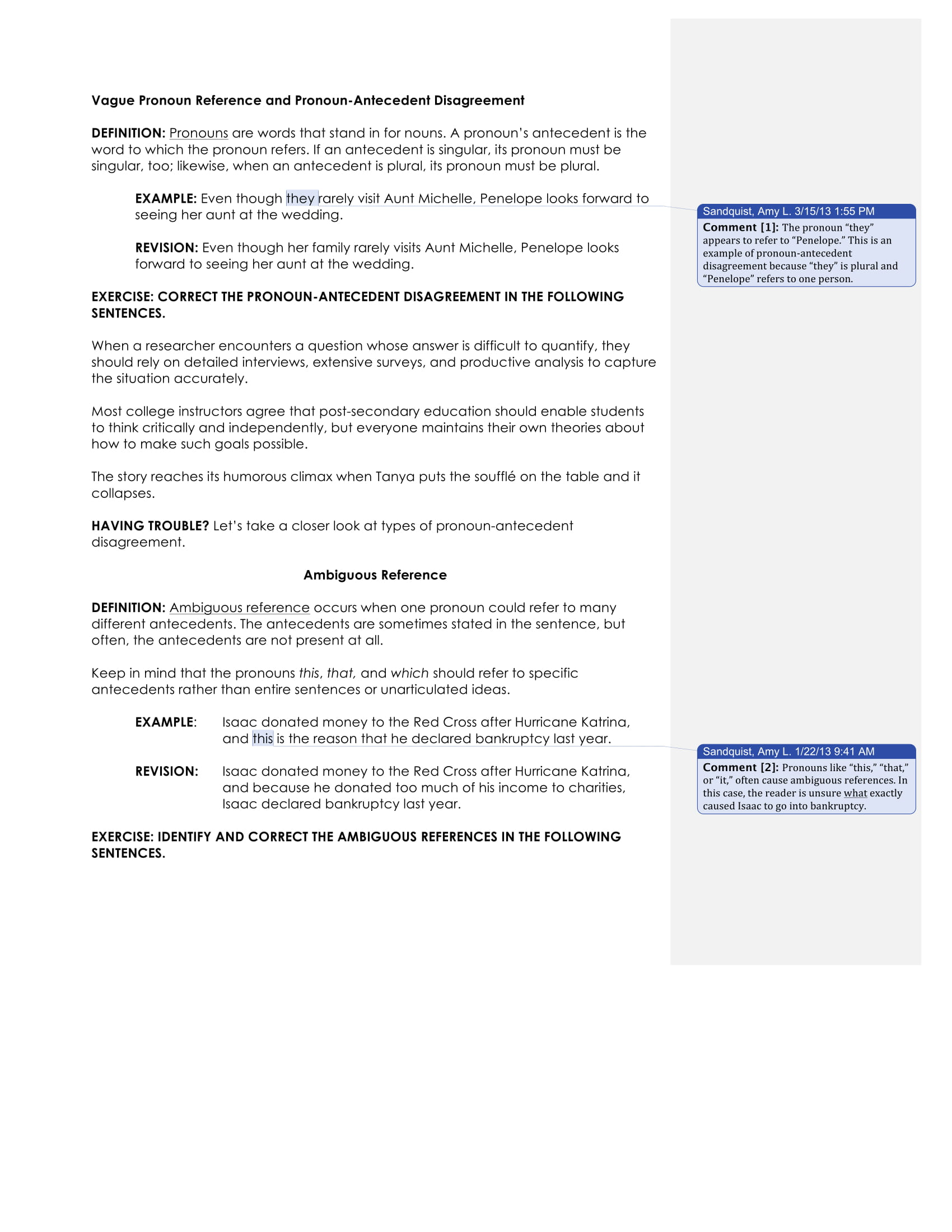 pronoun antecedent disagreement guide example