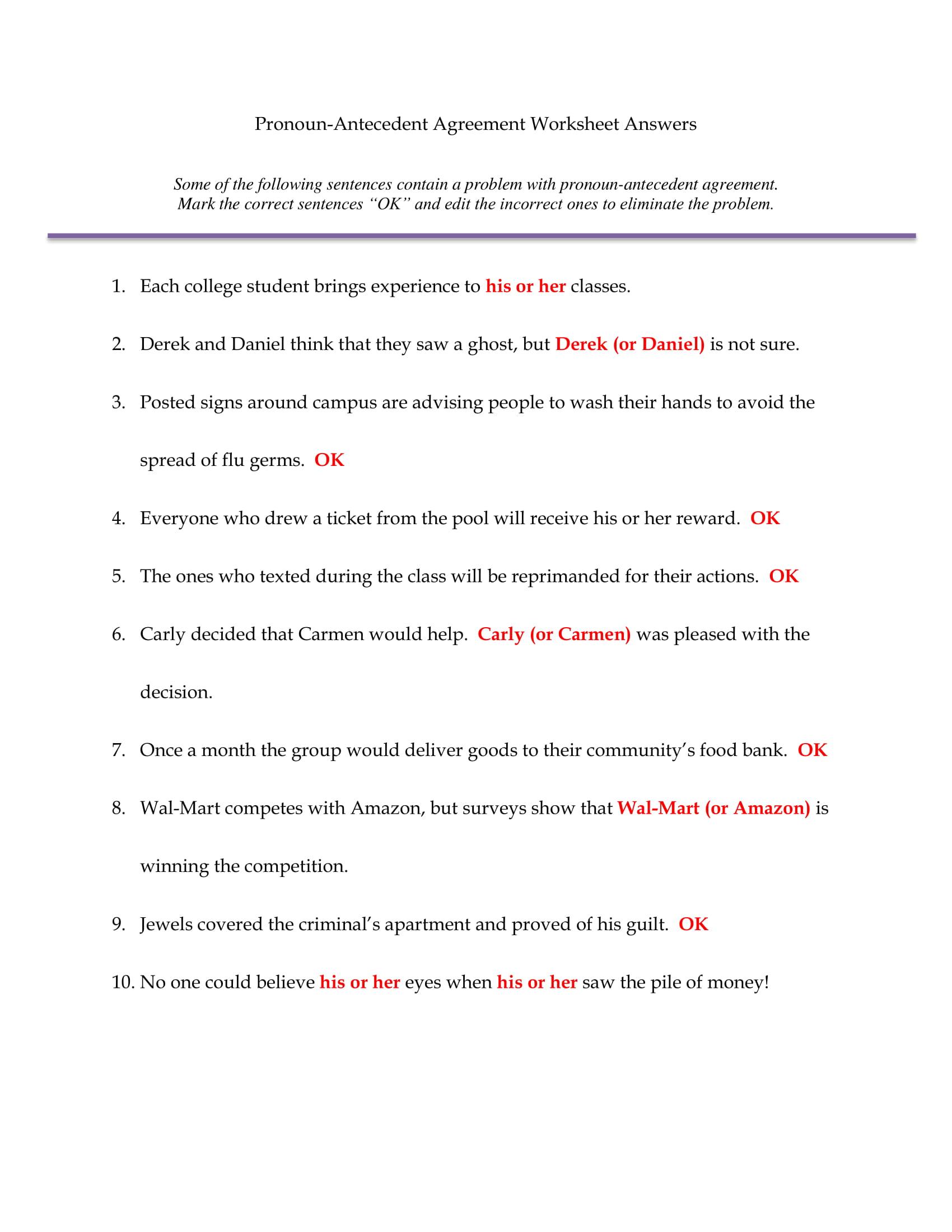 pronoun antecedent quiz answer sheet example