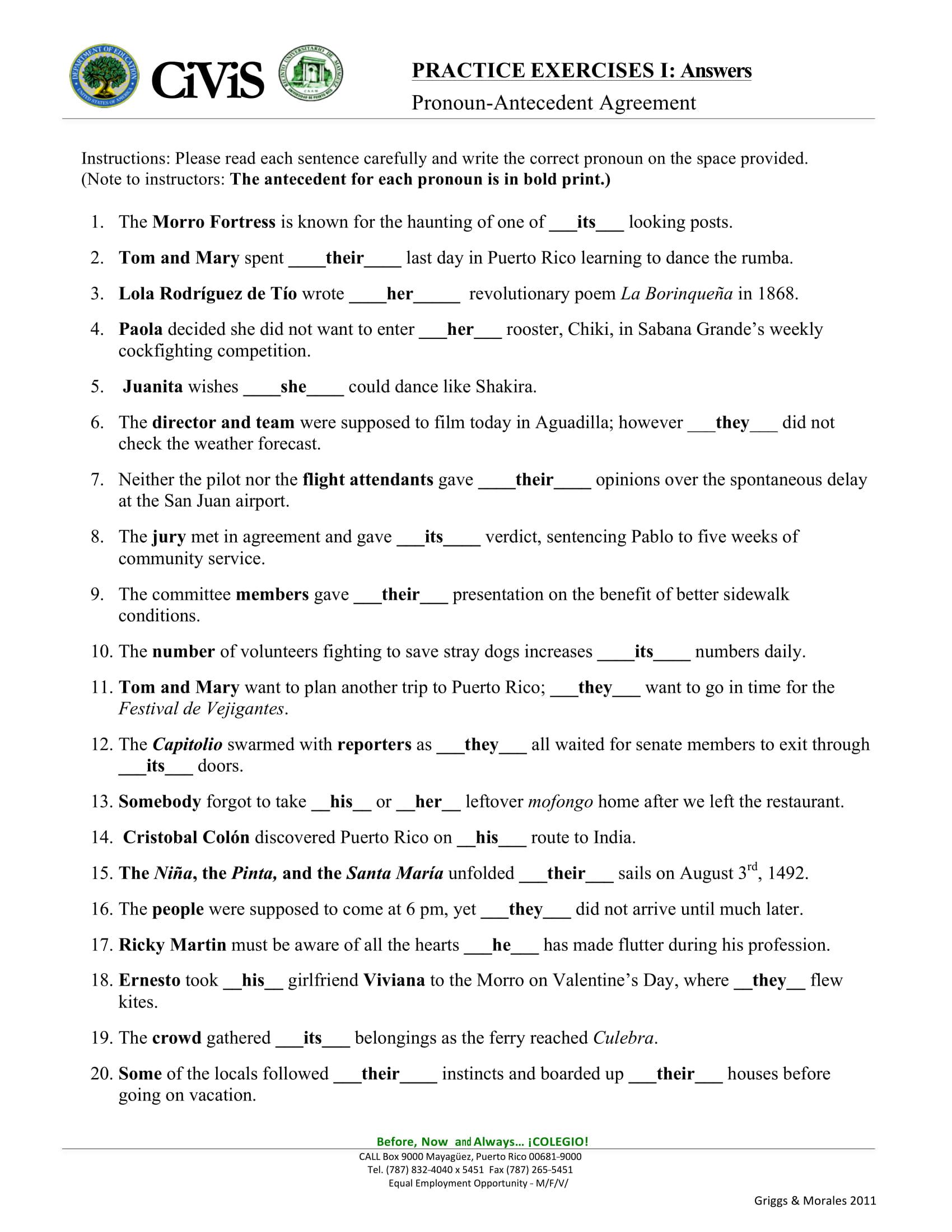 pronoun antecedent worksheet example2