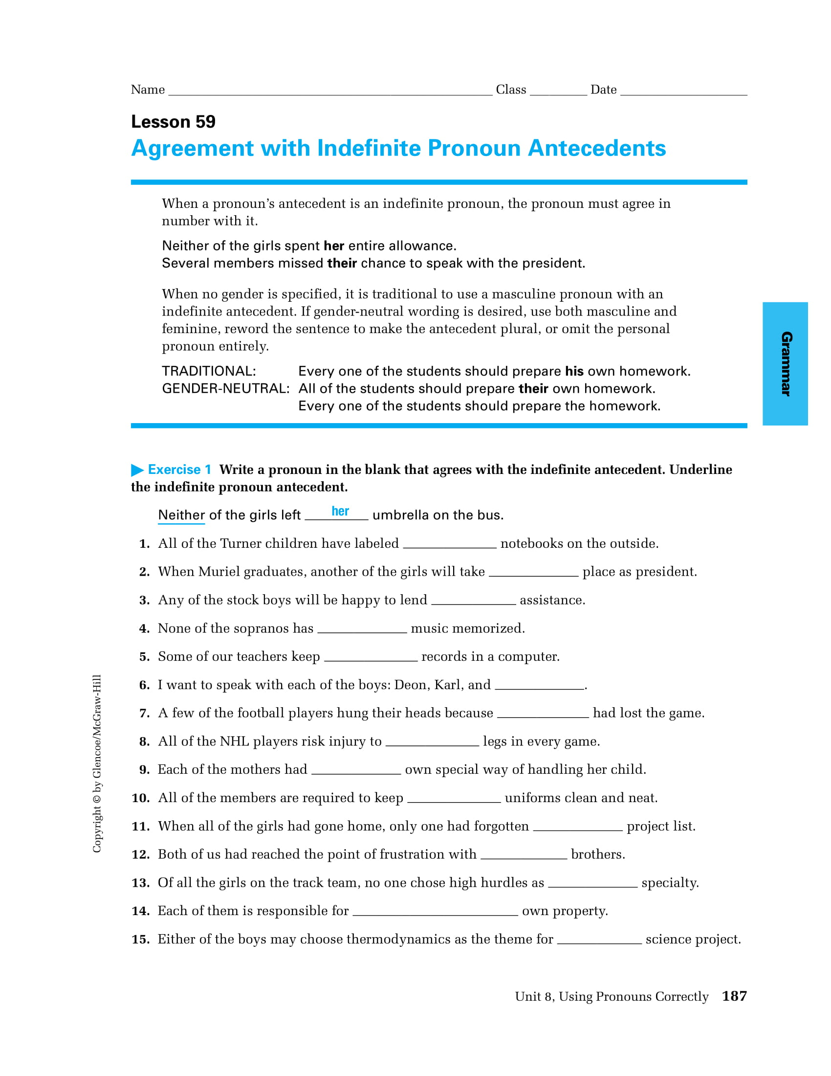 how to teach pronoun antecedent agreement