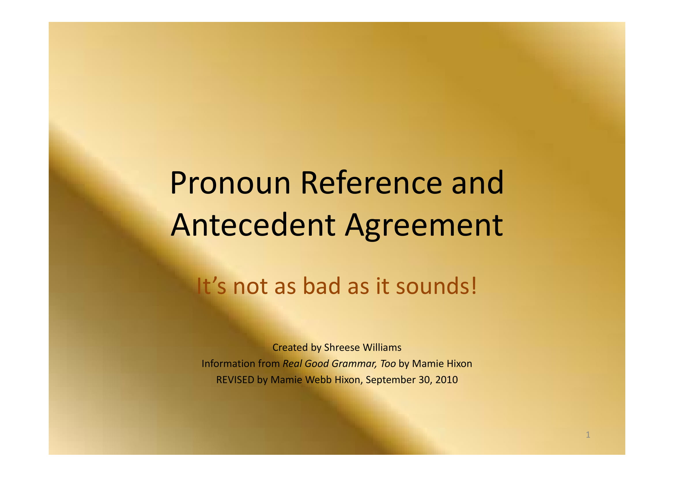 pronoun reference and antecedent agreement guide example