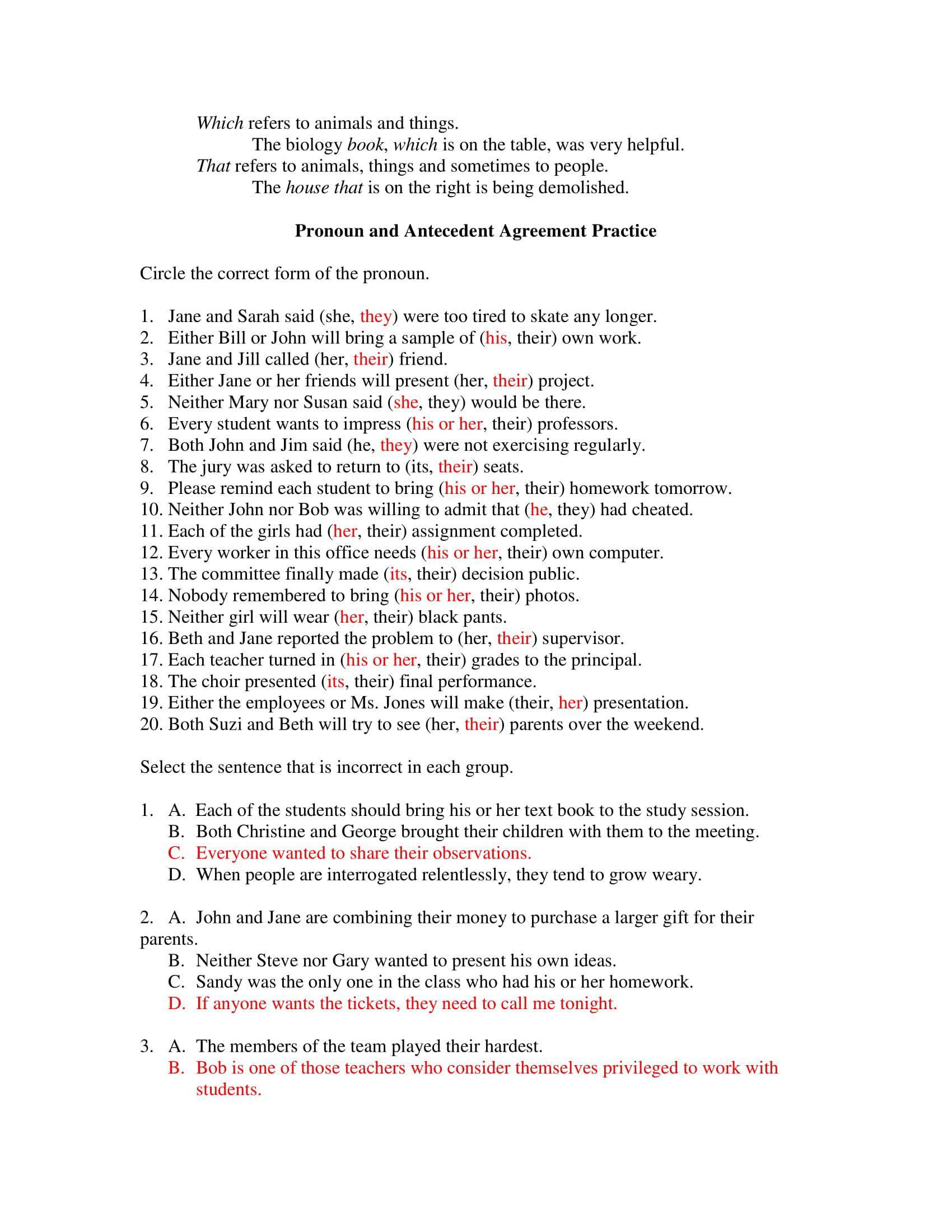 pronoun and antecedent agreement practice sheet example