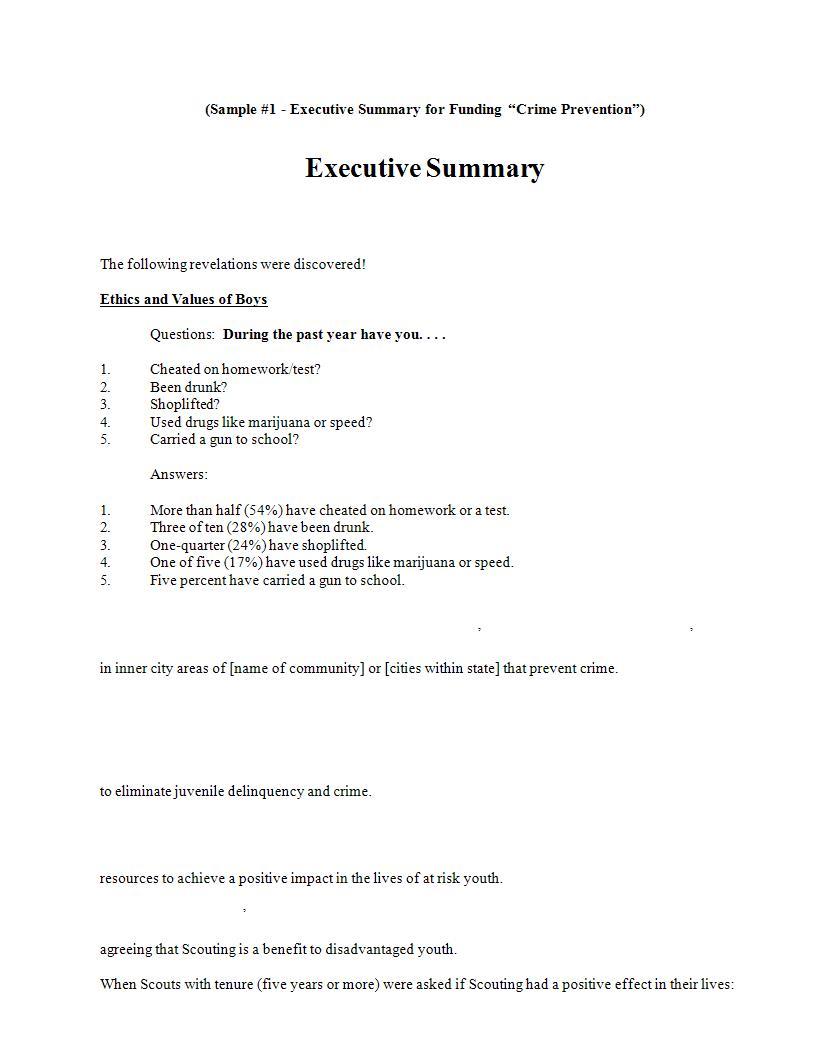 22 executive summary samples pdf doc