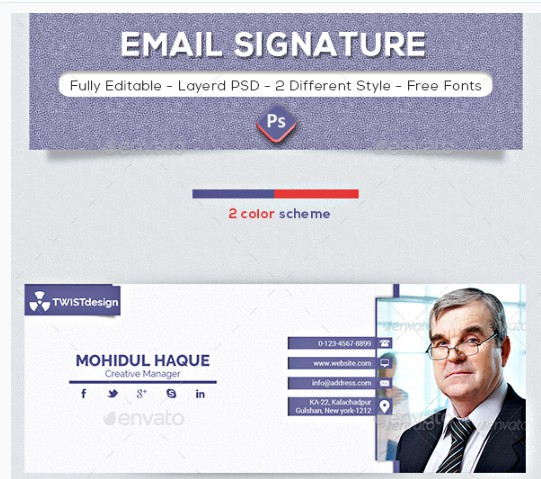 purple photography email signature example
