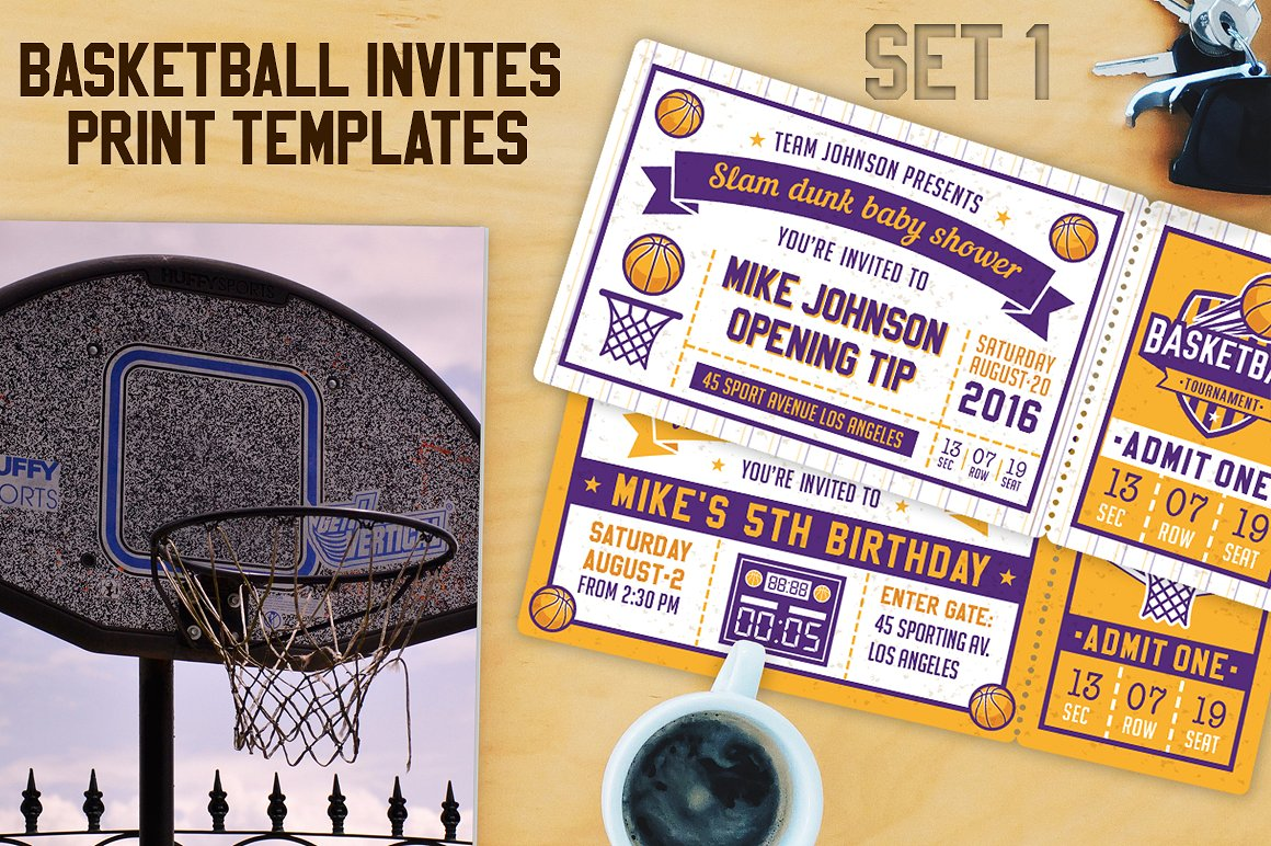 purple and gold basketball ticket invitation example