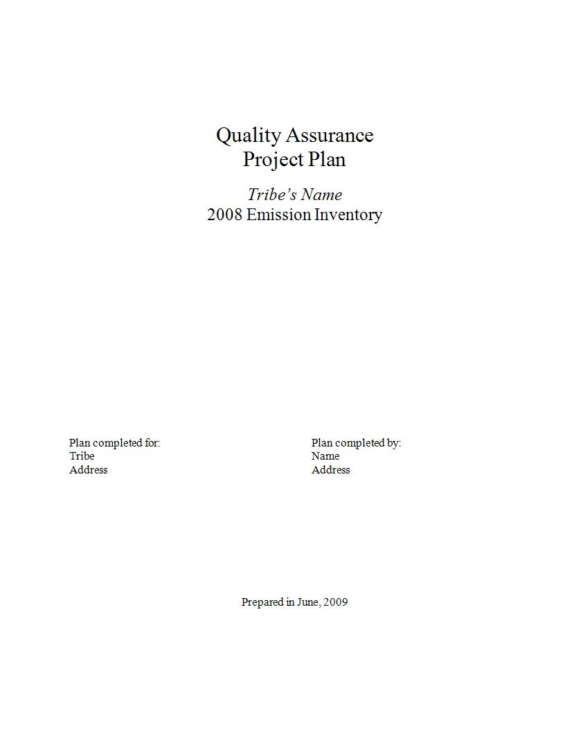 quality assurance project plan template example