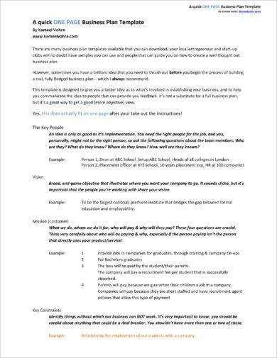 quick one page action plan example1