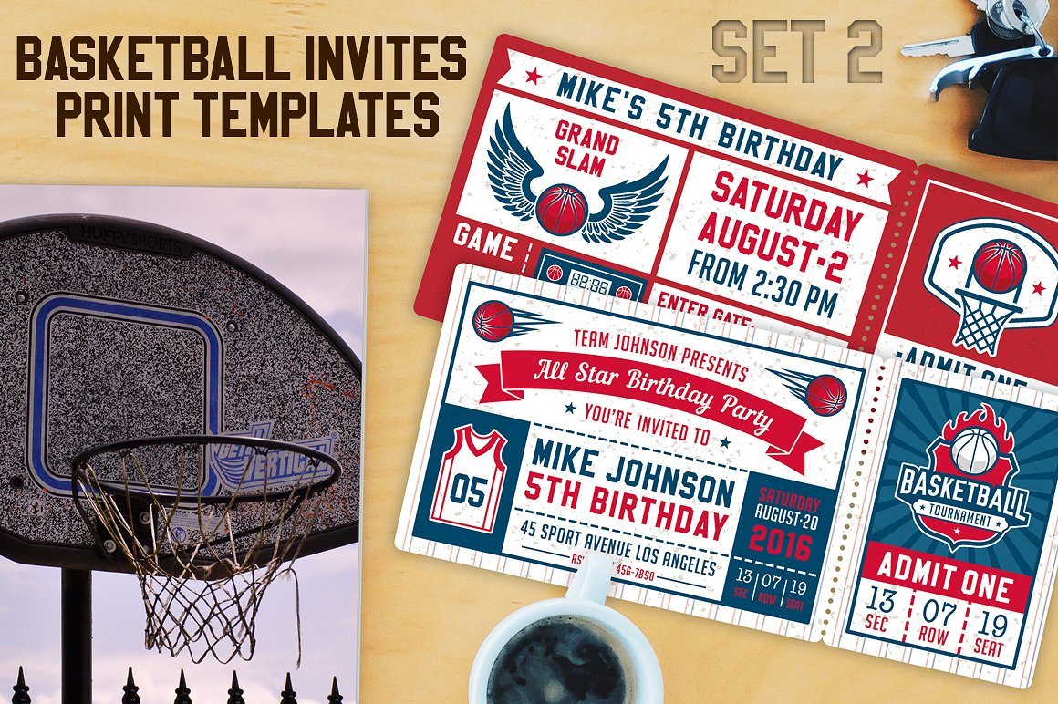 red and blue basketball ticket invitation example