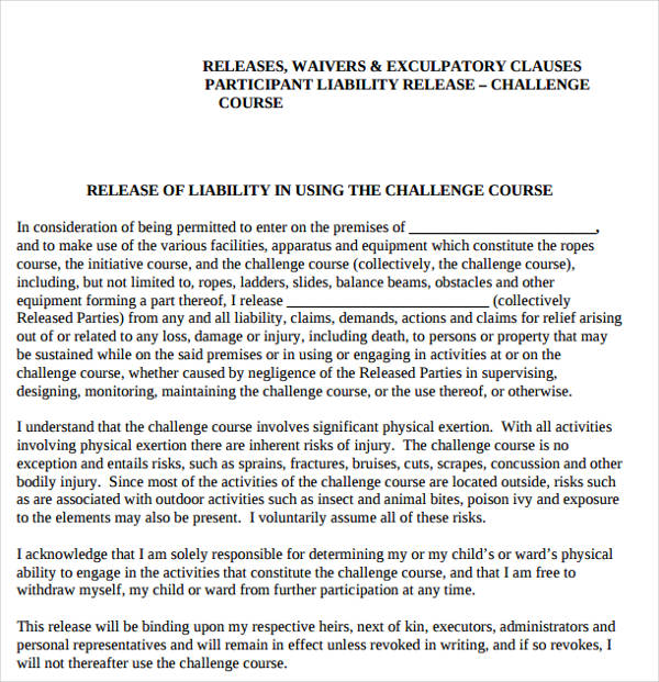 schools limit liability exculpatory clause example