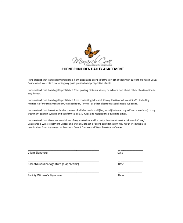 rental client confidentiality agreement example