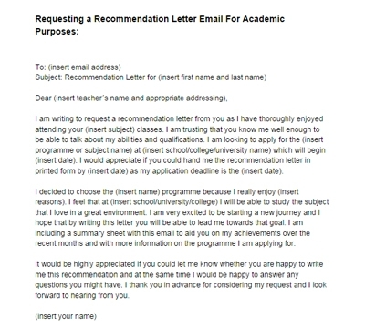 requesting a recommendation letter email