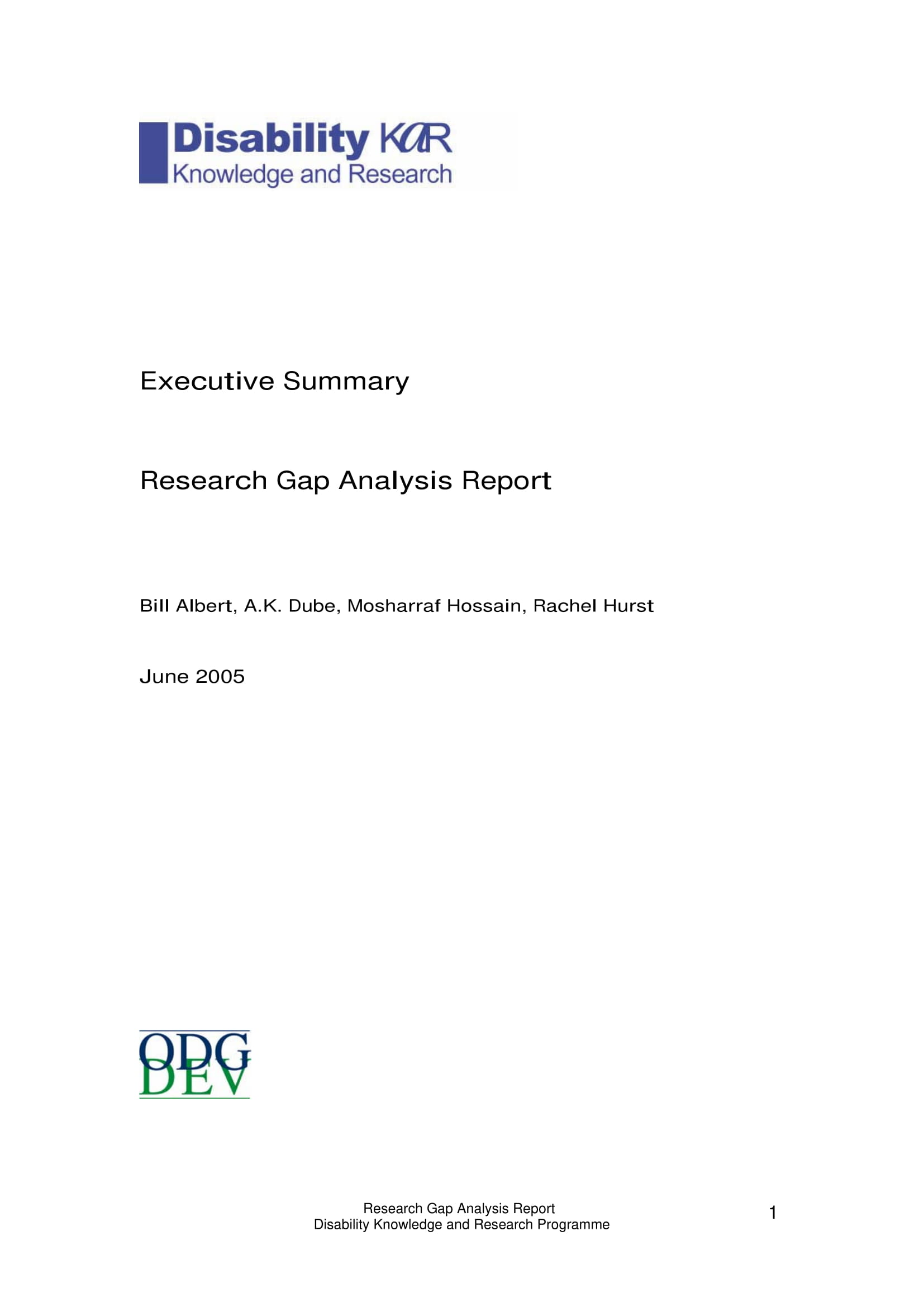 research gap analysis report executive summary example 1
