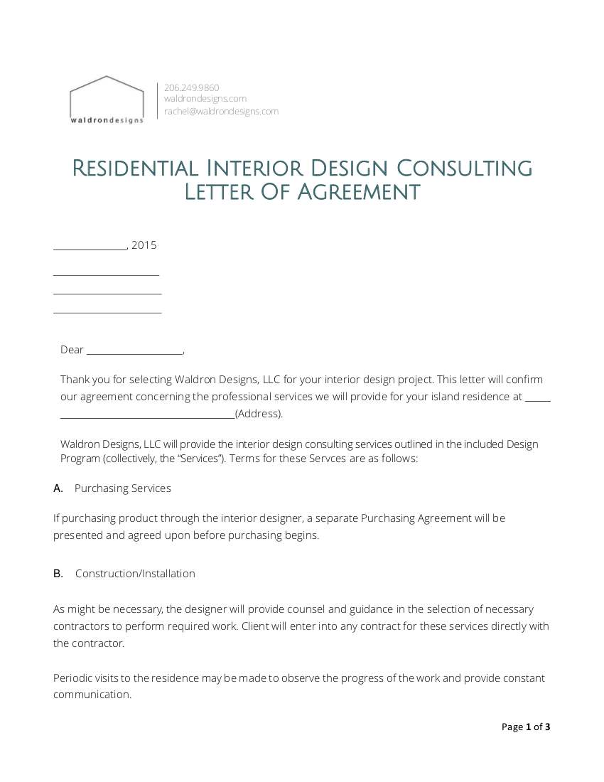 interior design contract agreement template invoice