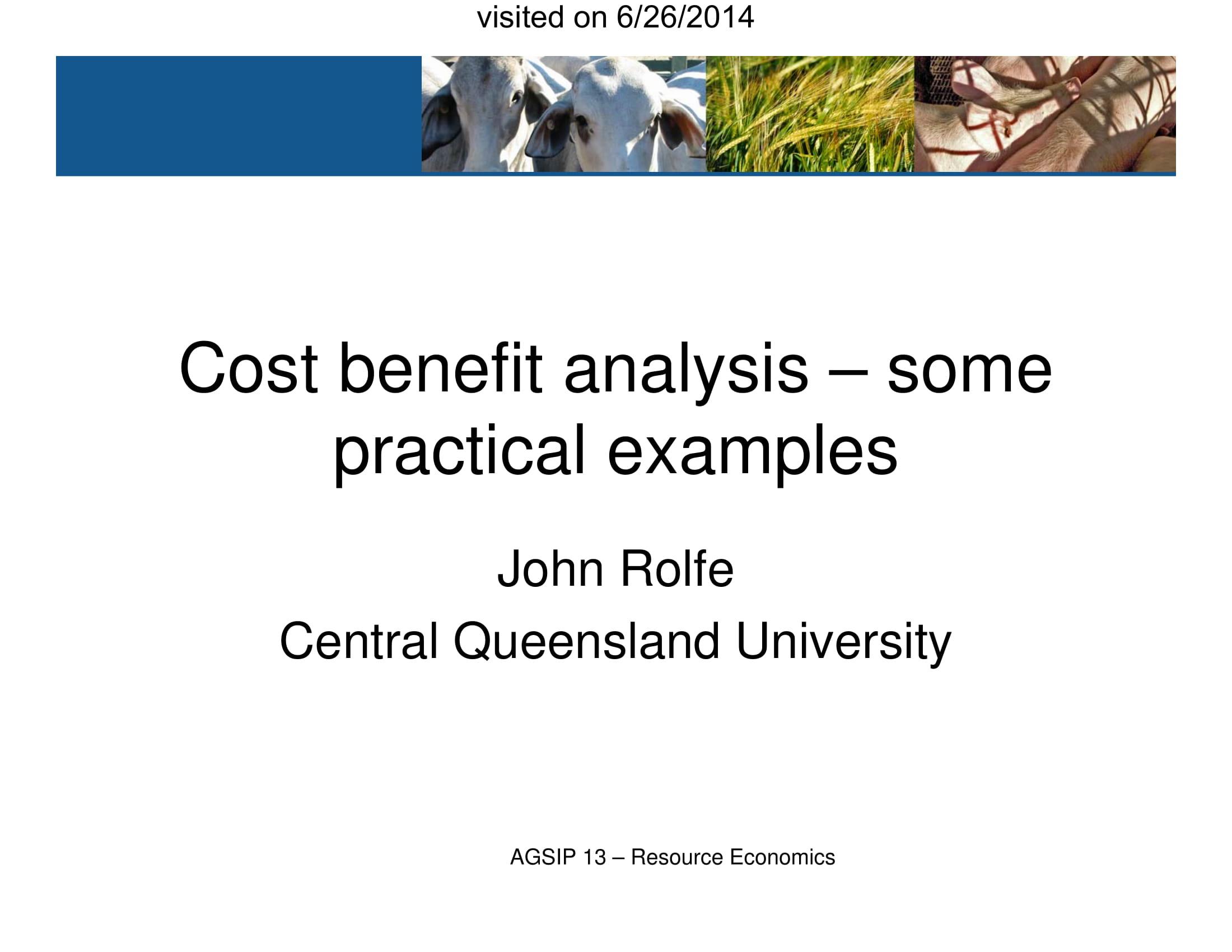 resource economics cost analysis example