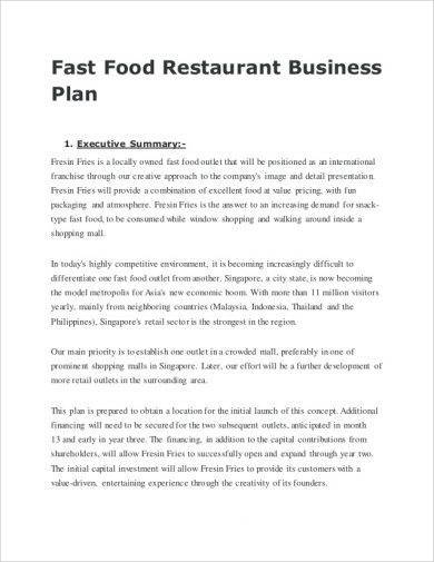 restaurant business plan summary example1