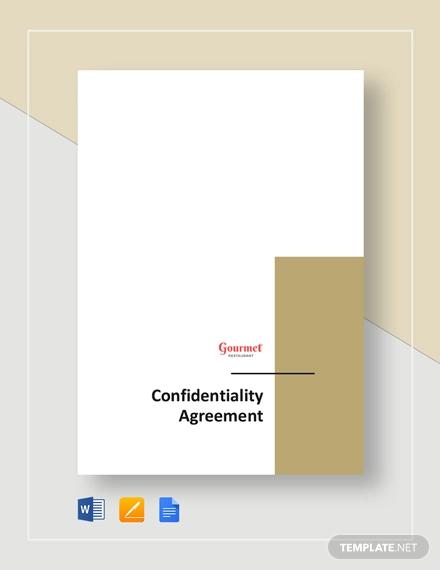 restaurant confidentiality agreement